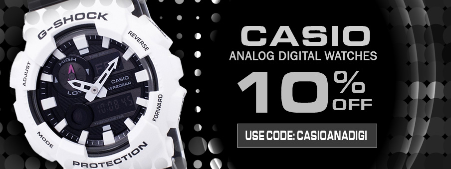 Casio analog-digital watches on sale with free worldwide shipping.