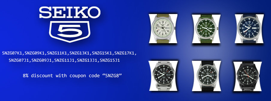 Seiko 5 automatic SNZG series Watches on sale with Free Worldwide Shipping