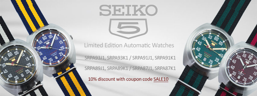 Seiko 5 Sports Limited Edition Automatic watches on sale with Free Worldwide Shipping