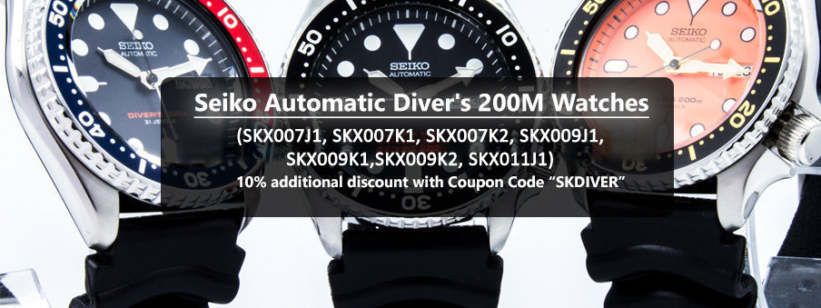 Seiko Automatic Diver's watches on sale with free shipping worldwide