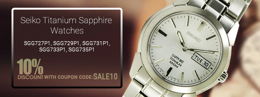 Seiko titanium sapphire watches on sale with free worldwide shipping.